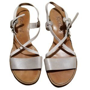 Kickers French Sandals 42 EUR 11 US Silver White